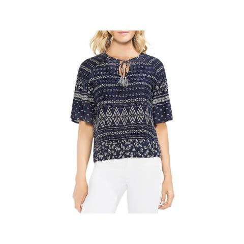 Vince Camuto Womens Casual Top Printed Short Sleeves