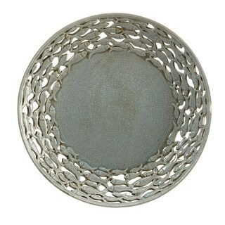 """18.5"""" Carolyn Kinder Gray Decorative Plate Charger with Cut-Out Fish Border"""
