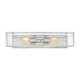 "Designers Fountain 88802-SP Pivot 2 Light 24"" Wide Wall Sconce Clear Lattice Glass - satin platinum"
