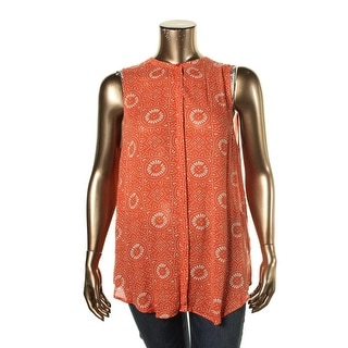 Lucky Brand Womens Textured Button-Down Casual Top
