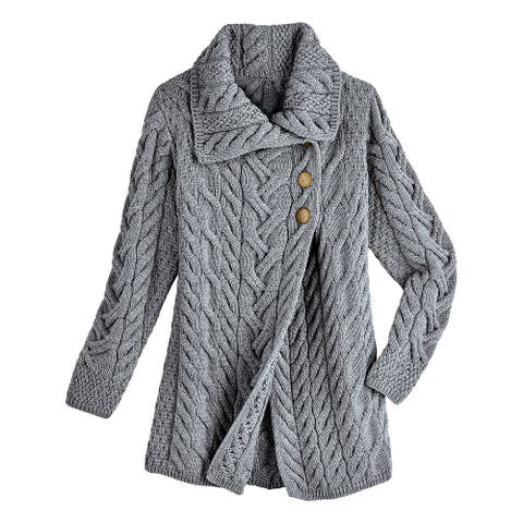 Aran Woolen Mill Women's Merino Wool Sweater Jacket - Wrap Front Shawl Collar