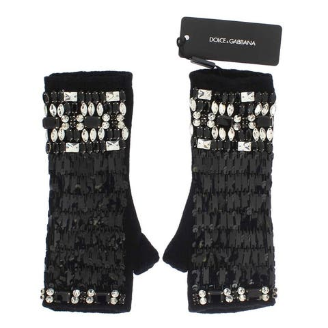 Dolce & Gabbana Black Cashmere Crystal Finger Less Gloves