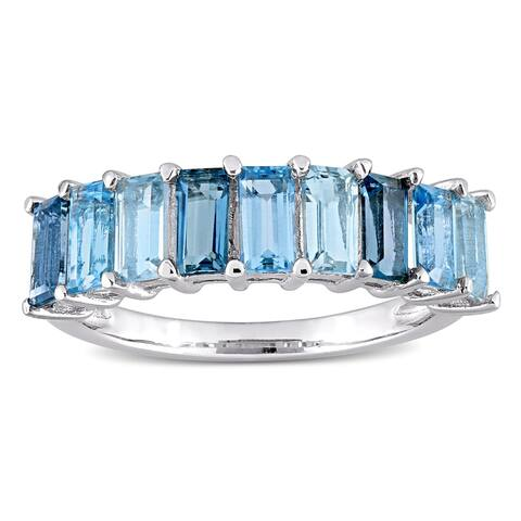 Miadora Sterling Silver Baguette-cut Blue Topaz Anniversary Wedding Band Ring