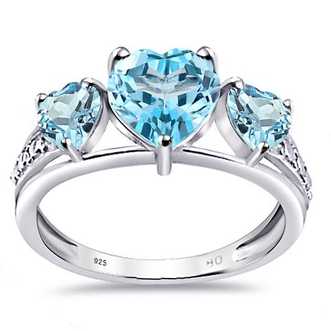 Blue Topaz Sterling Silver Heart 3-Stone Ring by Orchid Jewelry