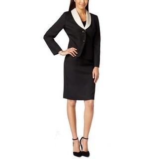 Le Suit NEW Black Champagne Women's Size 4 Contrast Skirt Suit Set