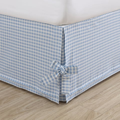 Laura Ashley Hedy Cotton Blue Tailored Bedskirt