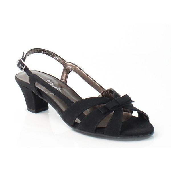 Rose Petals NEW Black Lela Shoes 6.5M Slingbacks Leather Sandals