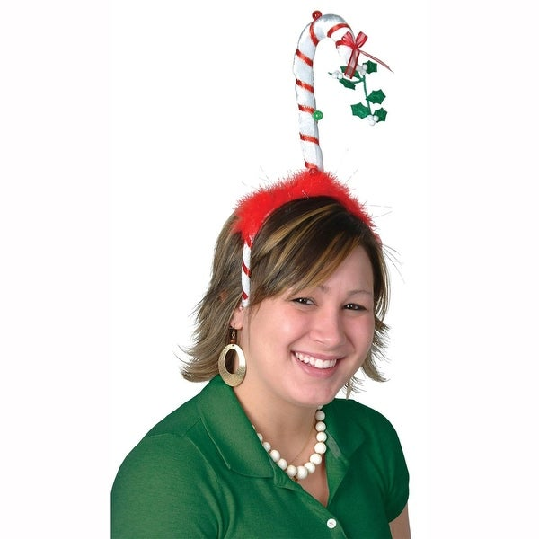 Club Pack of 12 Mistletoe Candy Cane Boppers Snap-on Christmas Headband Costume Accessories - RED