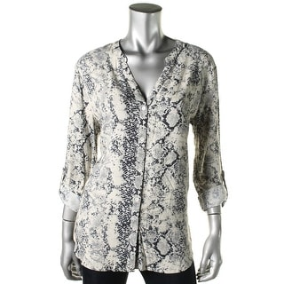 Soft Joie Womens Dane Snake Print V-Neck Button-Down Top