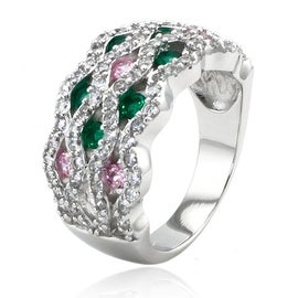 Sterling Silver Tri-Color Cubic Zirconia Ripple Ring (Option: 6.5)