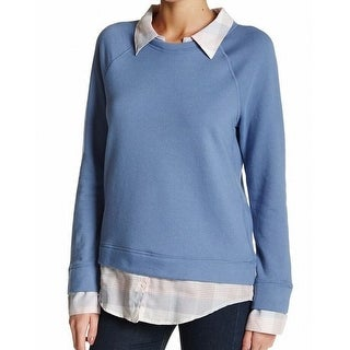 Soft Joie NEW Blue Women's Size Small S Collared 2-fer Plaid Sweater
