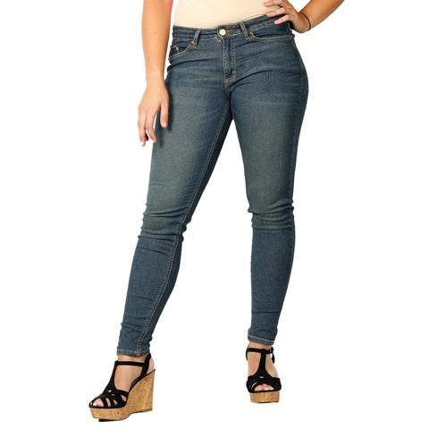 ODYN Misses Medium Stonewash Skinny Spandex Denim Fashion Jeans