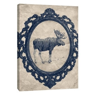 """PTM Images 9-108970  PTM Canvas Collection 10"""" x 8"""" - """"Framed Moose in Navy"""" Giclee Moose Art Print on Canvas"""