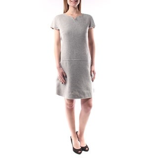 MAXMARA $595 Womens New 1217 Gray Short Sleeve Midi Shift Dress 6 B+B