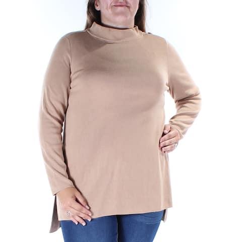 ALFANI Womens Brown Long Sleeve Turtle Neck Hi-Lo Top Size: XL