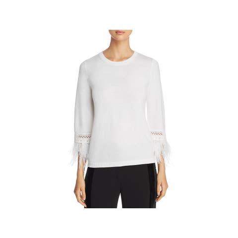 Kobi Halperin Womens Toni Pullover Sweater Faux Feather Trim 3/4 Sleeves