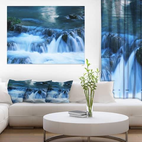 Designart 'Beautiful Small Blue Waterfalls' Landscape Print Wall Art