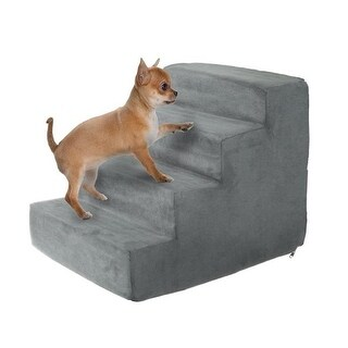 High Density Foam Pet Stairs 4 Steps with Machine Washable, Gray