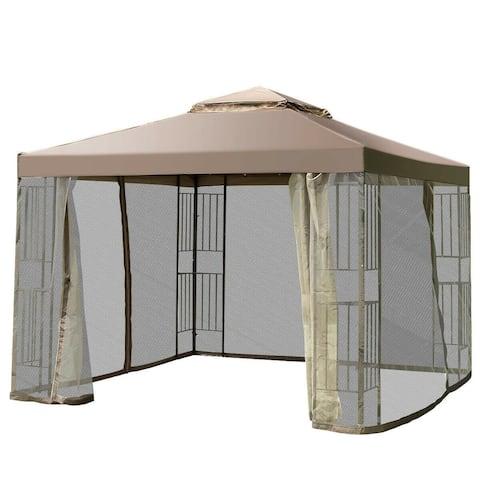 "10' x 10' Awning Patio Screw-free Structure Canopy Tent - 118.5"" x 118.5"" x 106.5"" (L x W x H)"