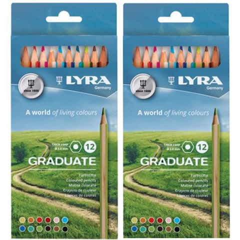 Graduate Colored Pencils, Cardboard Box, 12 Per Box, 2 Boxes