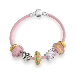 Bling Jewelry Silver Pink Enamel CZ Sandal Breast Cancer Charm Leather Bracelet Wi3rbu