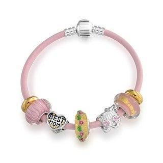 Bling Jewelry Love Pink Best Mom Heart Glass Enamel Charm Bracelet Silver