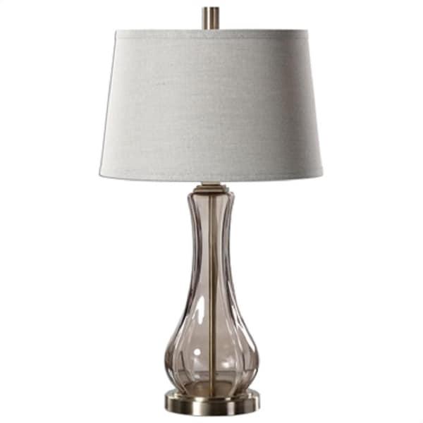 Glass Base Table Lamps Mesmerizing Shop 60 Cynthiana Smoke Gray Glass Base Table Lamp With Round Beige