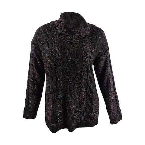 Charter Club Women's Cowl-Neck Cable-Knit Glitter Sweater