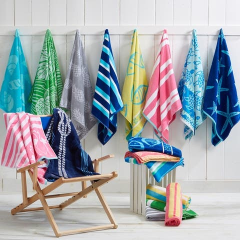 2 Pack 100% Cotton Jacquard Plush Nautical Beach Towel