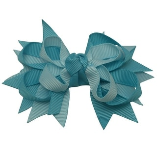 Girls Turquoise Two Tone Grosgrain Stacked Bow Alligator Hair Clippie