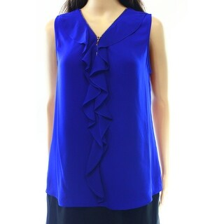INC NEW Blue Womens Size Large L Ruffle Front Sleeveless Tank Top