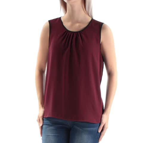 ANNE KLEIN Womens Burgundy Pleated Color Block Sleeveless Jewel Neck Top Size: 6