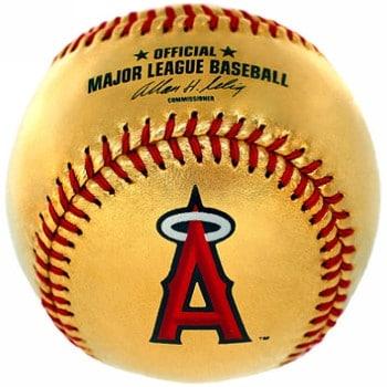 Los Angeles Angels Of Anaheim 24 Karat Gold Leather Official Major League Team Logo Baseball