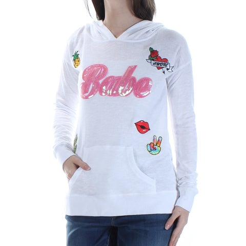 MISS CHIEVOUS $19 Women New 1763 White Babe Embellished Hoodie Sweater S Jrs B+B