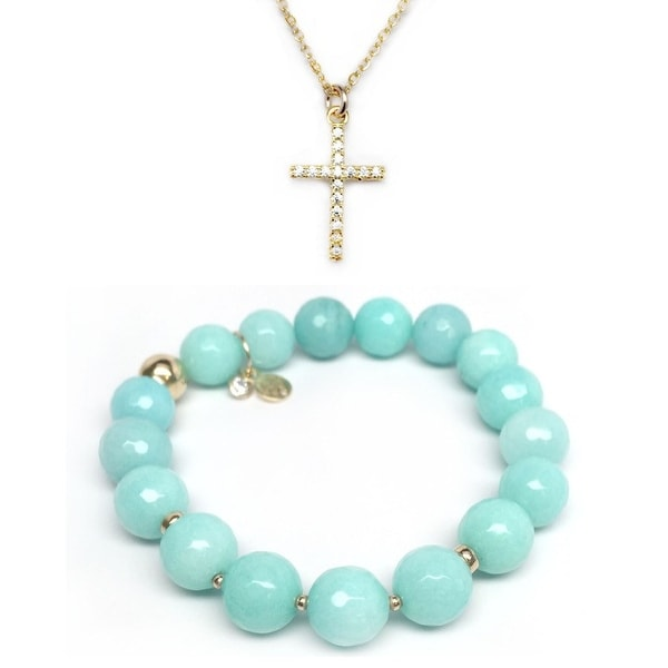 Aqua Quartz Bracelet & CZ Cross Gold Charm Necklace Set