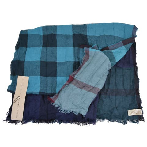 "Burberry Petrol Blue Cashmere Wool Nova Check Colorblock Shawl Scarf - 90"" x 26"""