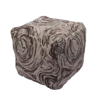"16""  Brown and Tan Swirl Square Wool Ottoman Pouf"