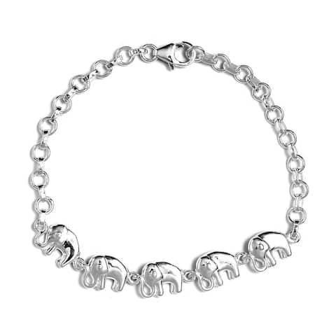 925 Sterling Silver Linked Elephants Elegant Bracelet 7.25 inch