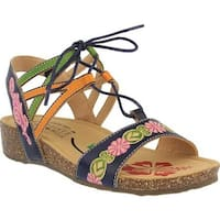 L'Artiste by Spring Step Women's Loma Wedge Sandal Navy Multi Leather