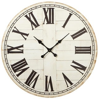 """36.25"""" Weathered Whitewash Wall Clock with Black Roman Numerals"""