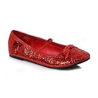 Flat Glitter Ballet Child Costume Shoes, Red