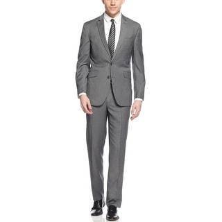 Kenneth Cole Reaction Slim Fit Grey Striped Suit 38 Regular 38R Pants 31W