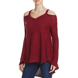 Elan Womens Pullover Sweater Cold Shoulder Frayed Hem