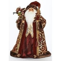 "22"" Classic Christmas Santa with Burgundy and Gold Cloak Tree Topper Figure"