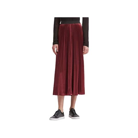 DKNY Womens Maxi Skirt Pleated Pull On