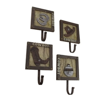 Set of 4 Western Cowboy Theme Wood and Metal Wall Hooks - 10.5 X 7 X 3 inches