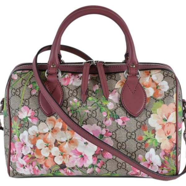facad2cf379c5d Gucci Women's 409529 SMALL GG Supreme BLOOMS Convertible Boston Bag -  Cream