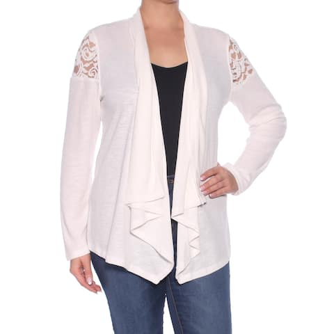 TOMMY HILFIGER Womens Ivory Eyelet Long Sleeve Open Cardigan Top Size: L