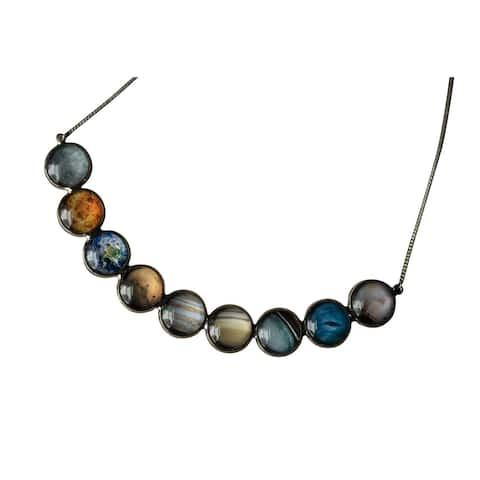 Yugen Tribe Women's Solar System Chain Necklace - 9 Planet Themed Glass Beads Fashion Jewelry