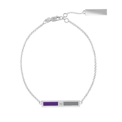 Kansas State University Sterling Silver Diamond Bar Chain Bracelet In Purple & Grey